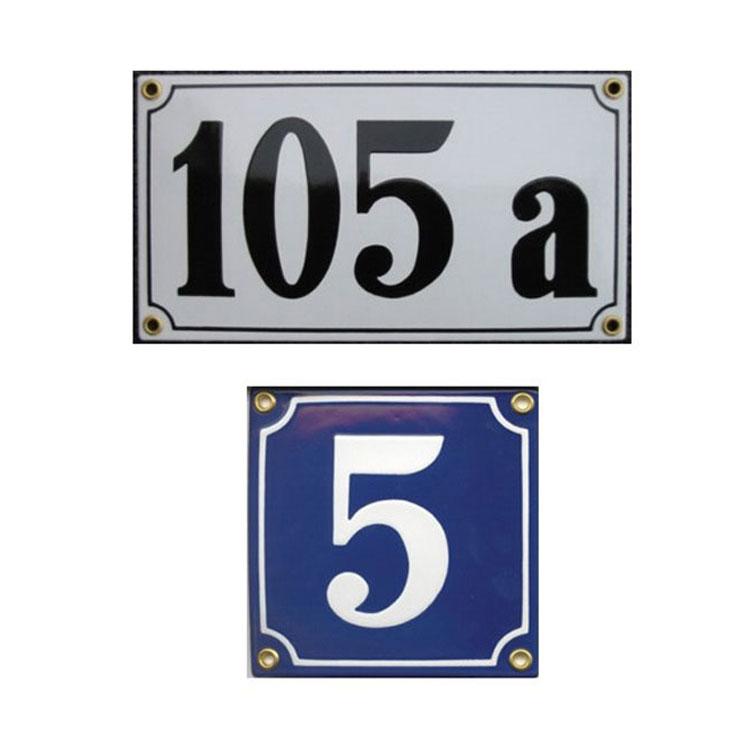 Emaille Schild oval Hausnummer 14 Wei/ß-SchwarzHandarbeit