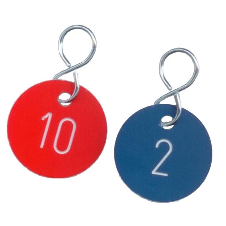 Zahlenmarken rot, Zahlenmarken blau, Anhänger mit Zahlen ...