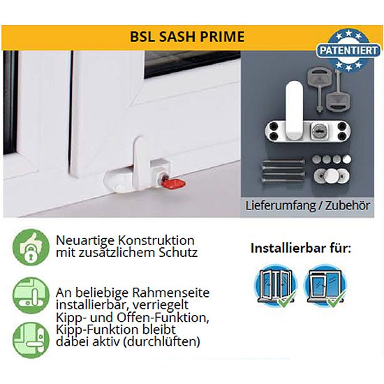 baby safety lock kindersicherung f r fenster bsl sash prime. Black Bedroom Furniture Sets. Home Design Ideas