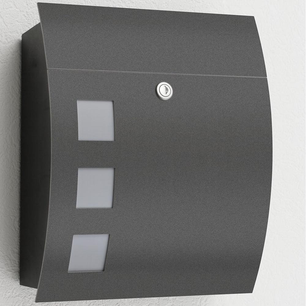 briefkasten anthrazit cmd 76 mit fenster. Black Bedroom Furniture Sets. Home Design Ideas